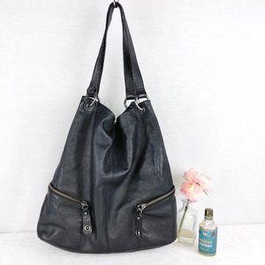 Kenneth Cole black pebbled leather large tote bag